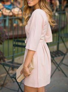 Shop Pink Bow Half Sleeve Dress online. SheIn offers Pink Bow Half Sleeve Dress & more to fit your fashionable needs.