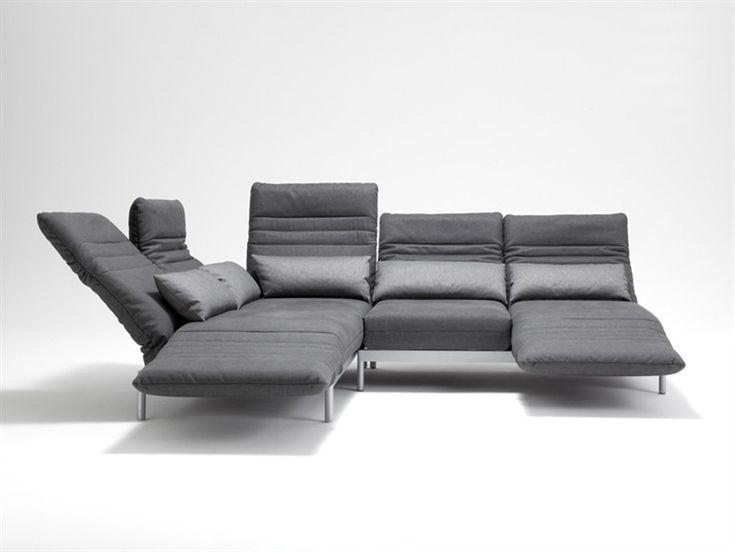 Divano angolare trasformabile in tessuto PLURA by Rolf Benz | design Norbert Beck