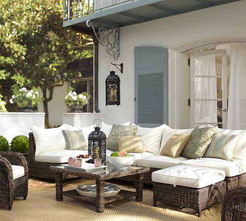 house...  white stucco, blue shutters, breezy linen drapes, etc...