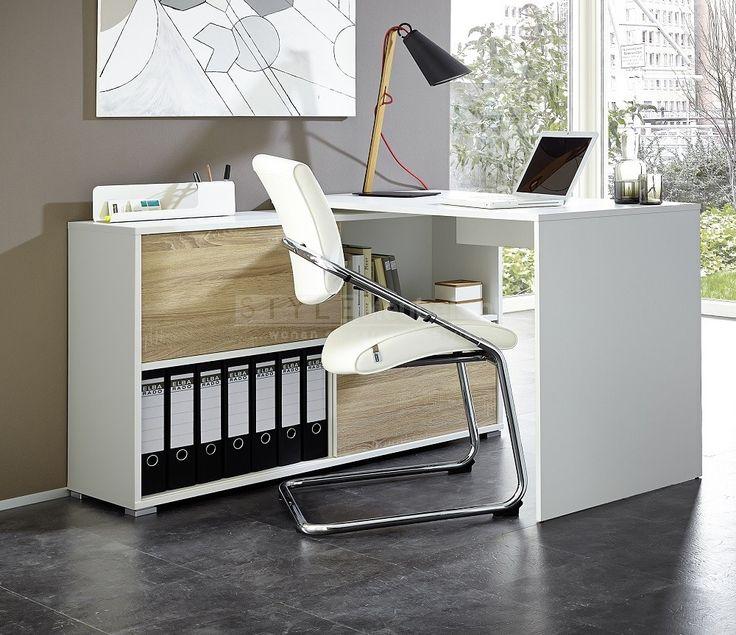 Wit computer hoek bureau Iso van 120x120cm is een werktafel met Sonoma eiken