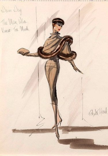 """Edith Head - sketch for Doris Day """"The Man Who Knew too Much"""" (1956)"""