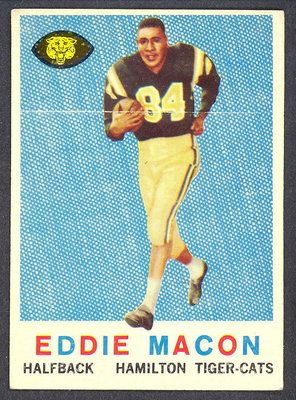 1959 Topps CFL Football Eddie Macon Hamilton Tiger Cats Chicago Bears    - featured in Gridiron Gauntlet: The Story of the Men Who Integrated Pro Football in Their Own Words