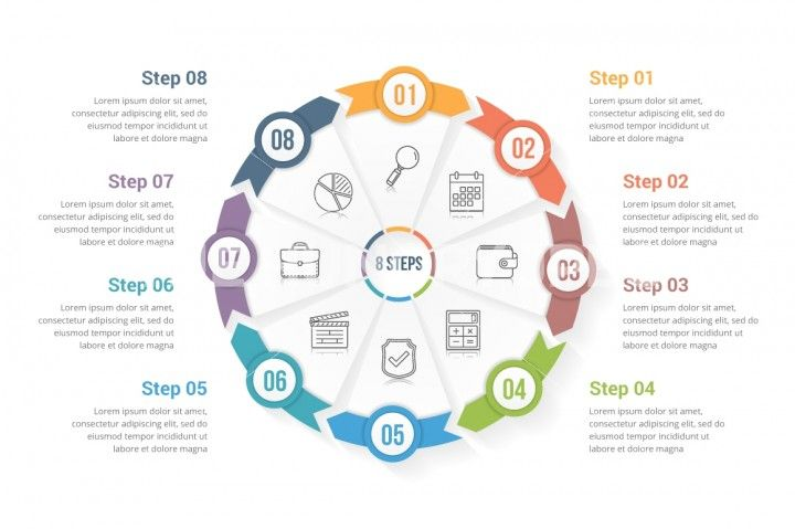 Circle Arrows Infographic Template With Eight Elements Steps Or
