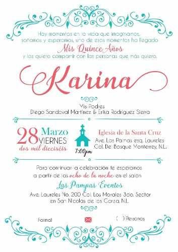 Invitacion Imprimible Personalizable Xv Años en venta en Guadalupe Nuevo León por sólo $ 120,00 - CompraCompras.com Mexico
