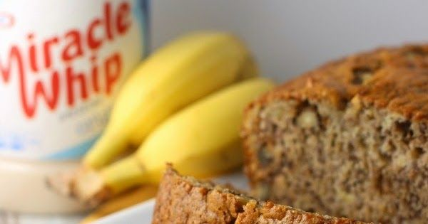 Easy Banana Bread full of flavor and moist as can be, featuring KRAFT MIRACLE WHIP Dressing