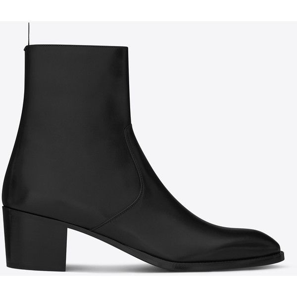 Saint Laurent Signature Wyatt 60 Zipped Boot (€930) ❤ liked on Polyvore featuring men's fashion, men's shoes, men's boots, mens zipper shoes, mens zip boots, mens zipper boots, yves saint laurent mens boots and yves saint laurent mens shoes