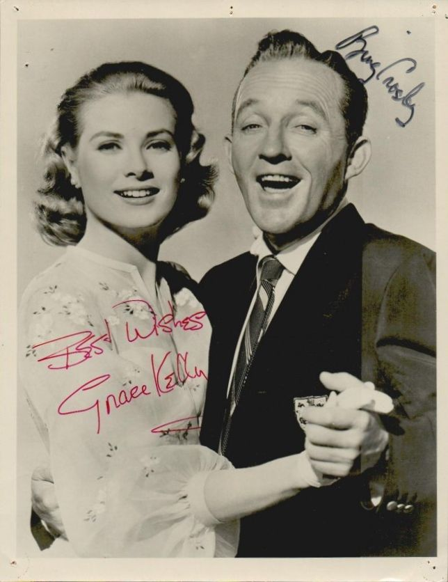 Photograph of Bing Crosby and Grace Kelly in High Society (1956) It is signed and inscribed 'best wishes' by Grace Kelly, and also, signed by Bing Crosby [x]