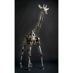 Andrew Chase designs giant animal sculptures that move. This one is a giraffe.