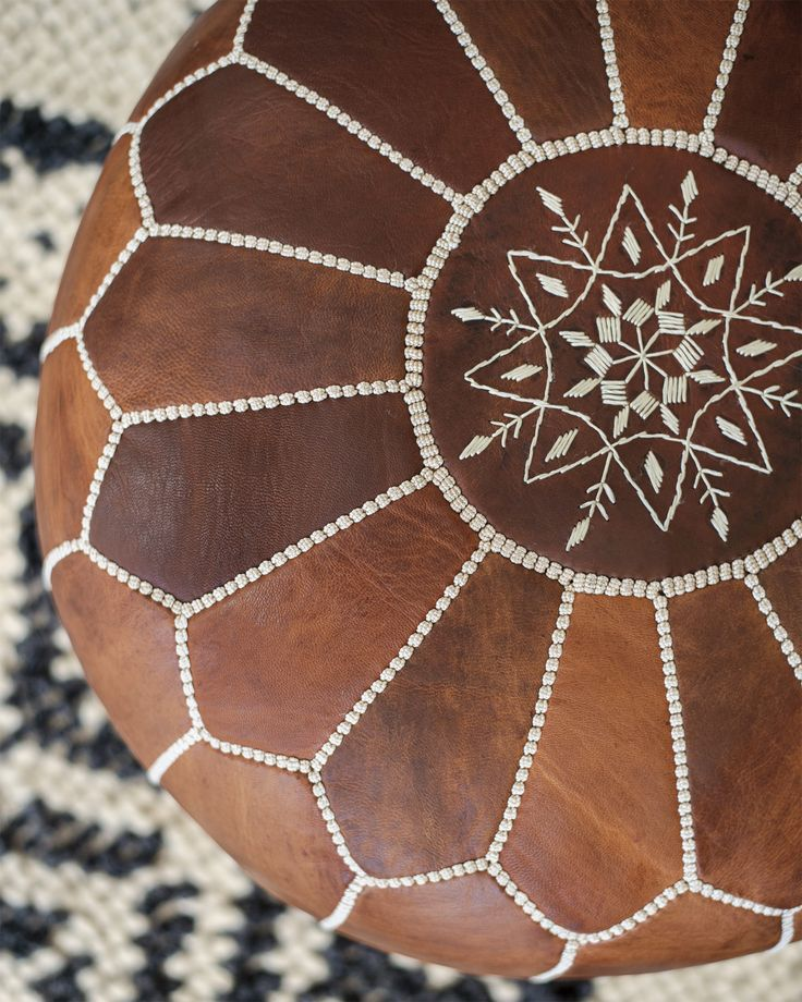 Moroccan Leather Pouf via Serena & Lily