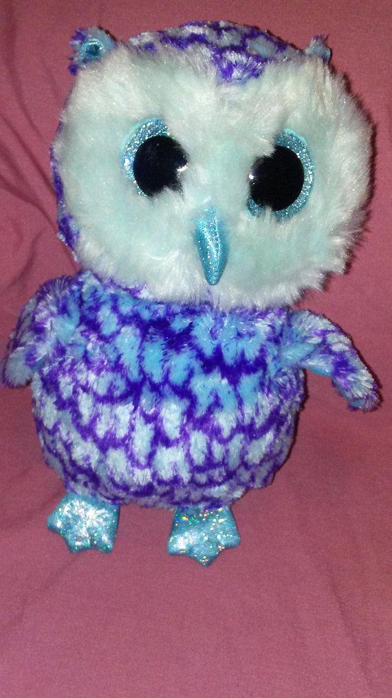 ab4f7eba4db TY Beanie Boo Oscar The Blue  purple Owl Plush Large 6 Inch Stuffed ...
