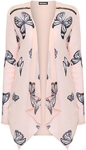 Couleur taille Femme Longues Imprimé Haut grande Synthétique Manches zippé Cardigan Mousseline pour femmes Papillon 6PBdOq