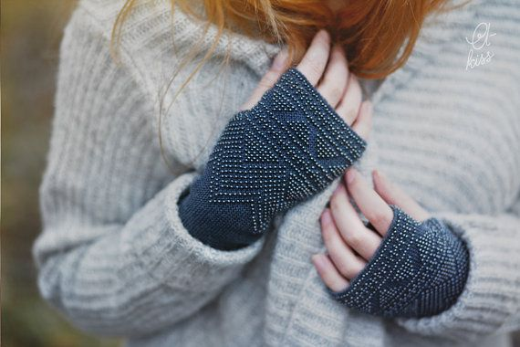 Very cosy and warm high quality long steel blue beaded wrist warmers.  Wrist warmers are hand knitted in steel blue 70% wool yarn with beautiful