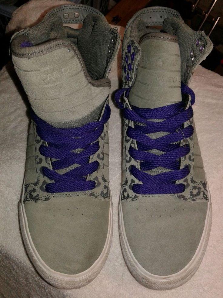 Supra High Top size 9 Shoes Sneakers Grey Purple Cheetah Leopard Suede MUSKA 001 #SUPRA #HiTopTrainerBoots