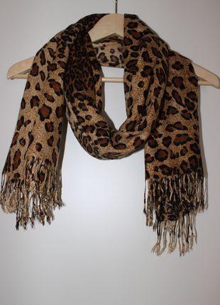 Schal mit Leopardenprint und Fransen
