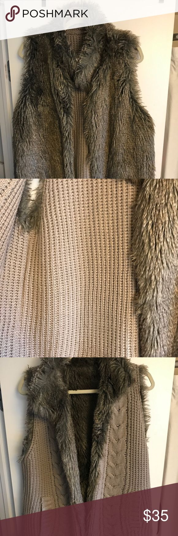 REVERSIBLE fur vest with POCKETS 🙏🏼🤗 Long fur vest in a pretty ash grey / brown color, lined with a sweater material so that you can wear 2 ways! This is the best fur vest I've ever owned. Not too bulky, but warm and really great quality 👍🏼... Well done Bloomingdales. Cute with grey jeans and booties, or over a dress with sleeves. Would fit a S-L Aqua Jackets & Coats Vests