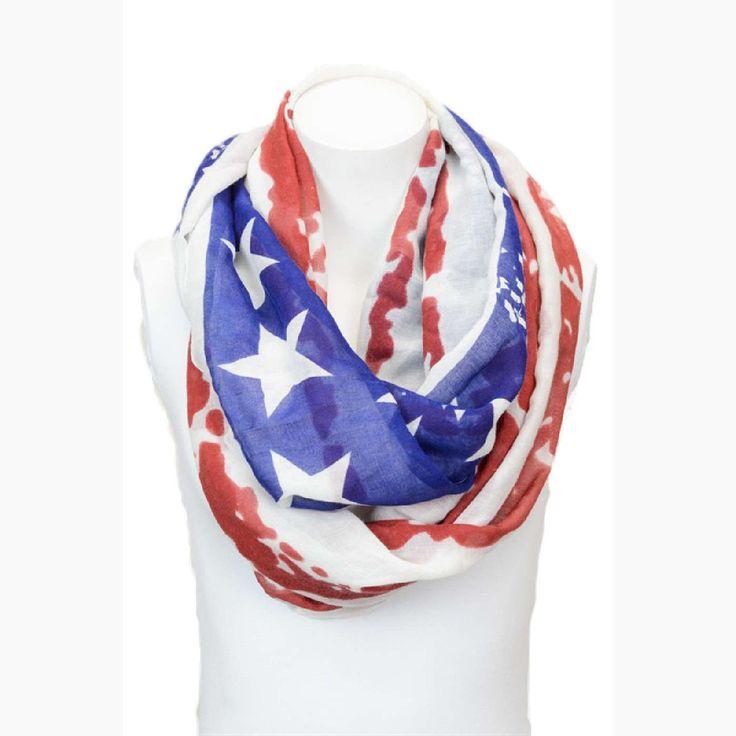 Tattered American Flag Infinity, White