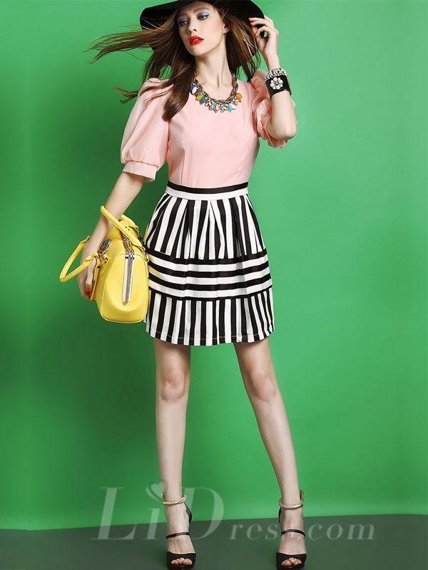 Fashion Lantern Sleeve Stitching Stripe Dress