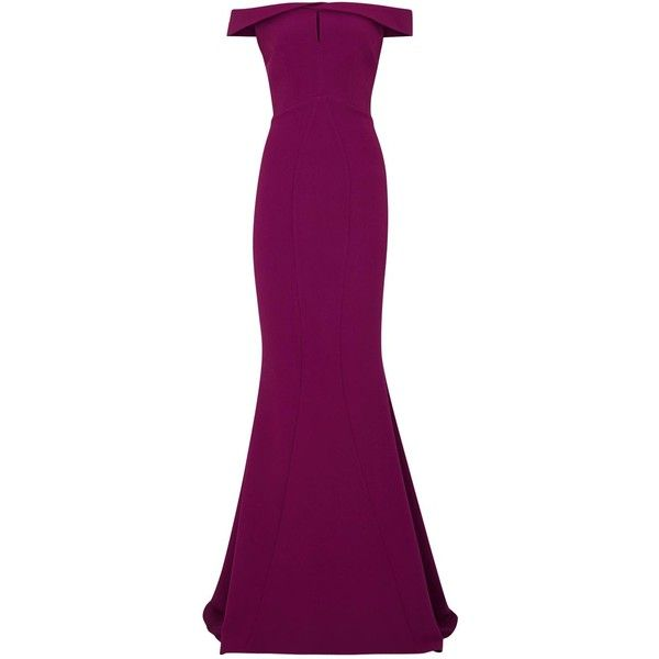 Womens Statement Dresses Safiyaa Linden Plum Off-the-shoulder Crepe... ($1,500) ❤ liked on Polyvore featuring dresses, gowns, long dresses, plum purple dress, off shoulder long dress, plum gown, purple gown and purple evening gown