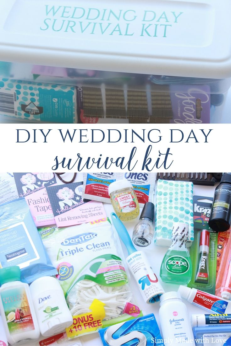 Wedding Day Survival Kit- with a Free Printable for all of those what if items.