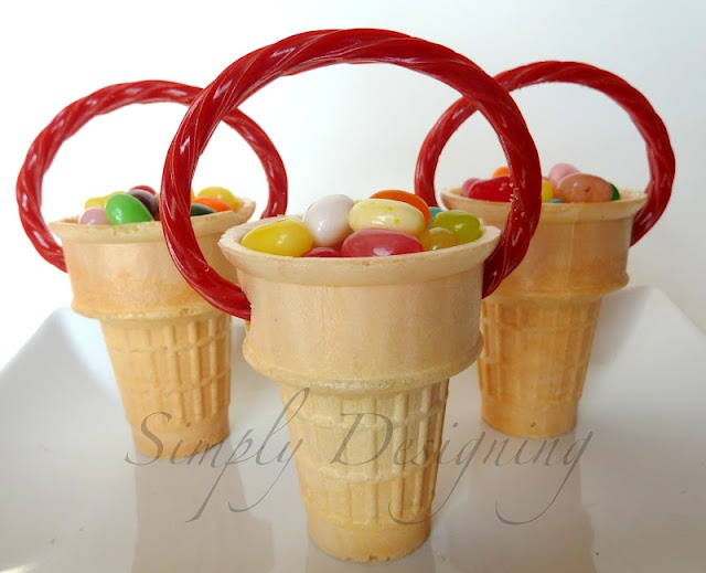 Easter Cone Basket (filled with Jelly Beans) - Great Easter Kid Craft!! would be cute for place holders at the Easter dinner table or cute for the kids to hand out to their friends! simplydesigning.b...