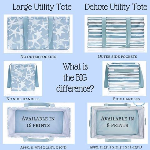 What's the difference between a deluxe utility tote and a large utility tote?  Well now you know!  Which one works better for you?! www.facebook.com/katsbagparty www.mythirtyone.com/1715286