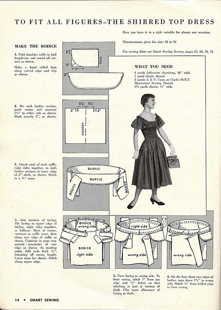 Free Vintage Sewing Pattern - 1950 Shirred Dress, 2pgs, scroll forward in photo stream for 2nd page