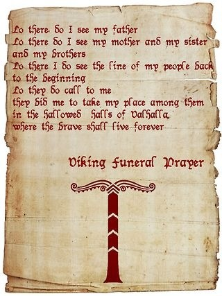 Viking funeral prayer
