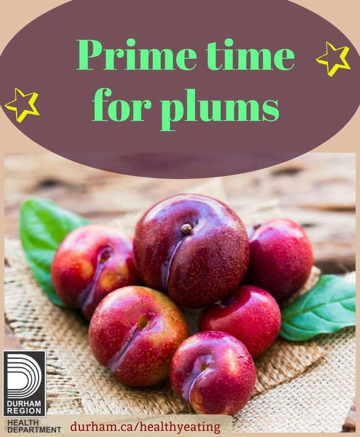 Starting in July plums are in season! When shopping for plums look for smooth fruit that is free from cracks, soft spots or brown spots. When you're preparing the fruit, wash under cool running water with your hands then eat! Check out this resource for more great tips for eating veggies and fruit.
