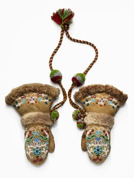 Gwich'In Mittens - 1907-1913, Moose hide, wool, beaver, glass and metal beads, sinew. -  shown at National Museum of the American Indian