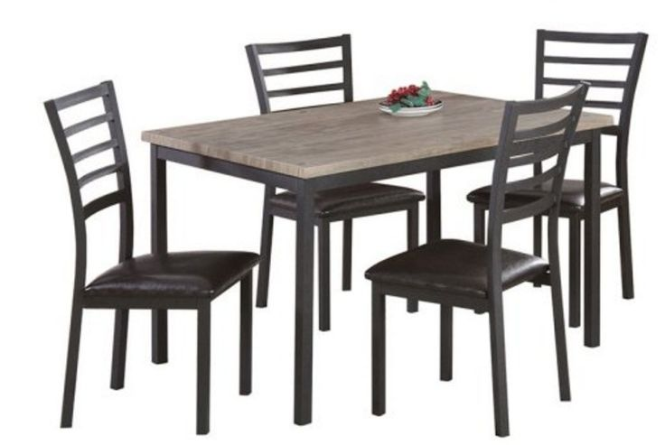 Dinning Set 5 Piece Table Chair Furniture Solid Wood Modern Versatile Room New
