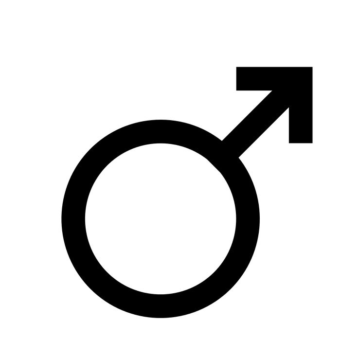 """The shape of the Mars symbol has been likened to an iron-tipped spear (i.e. a weapon mainly used by men). Mars symbol (U+2642 ♂). The symbol for a male organism or man."""