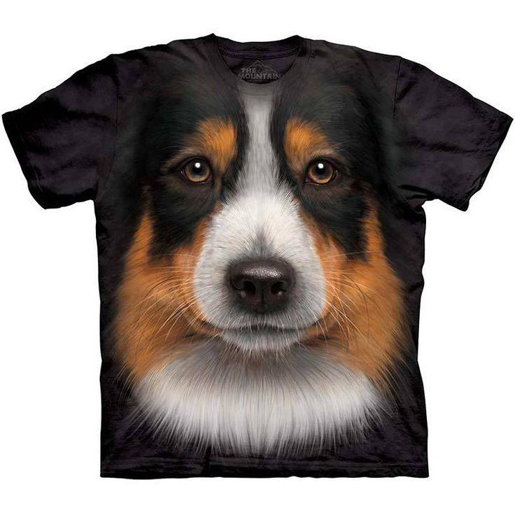 The mountain australian shepherd face shirt s 3xl big head for Dog t shirt for after surgery