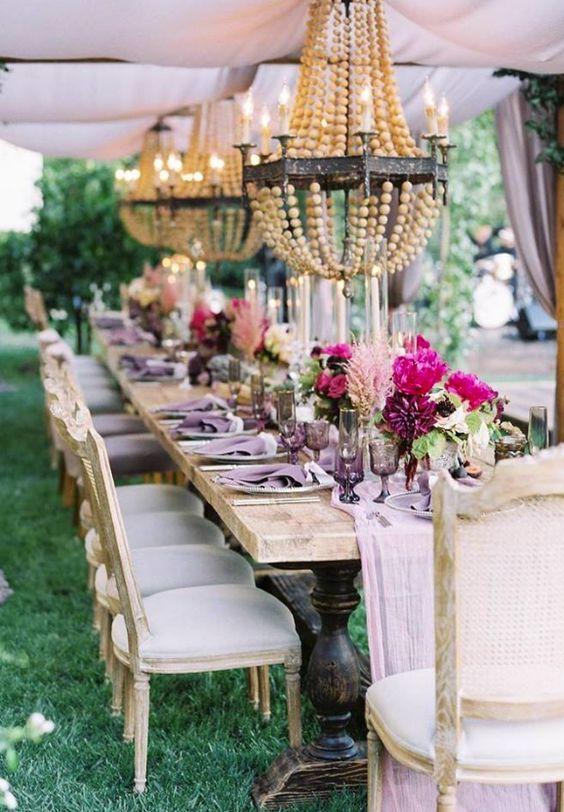 unique bohemian purple wedding reception centerpiece