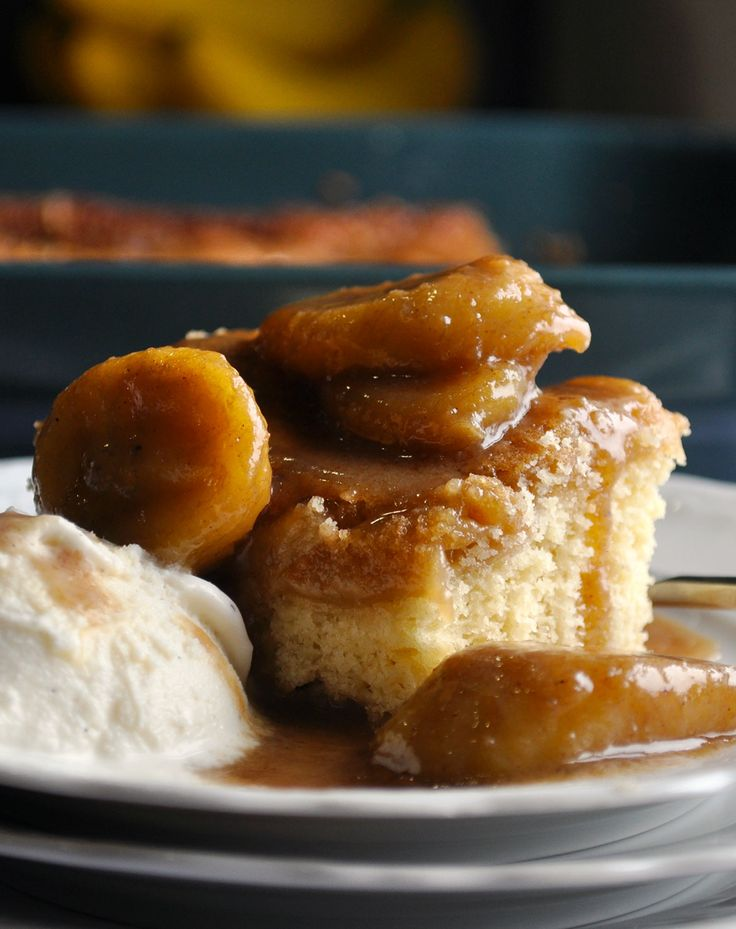 St. Louis Gooey Butter Cake with Bananas Foster Sauce.