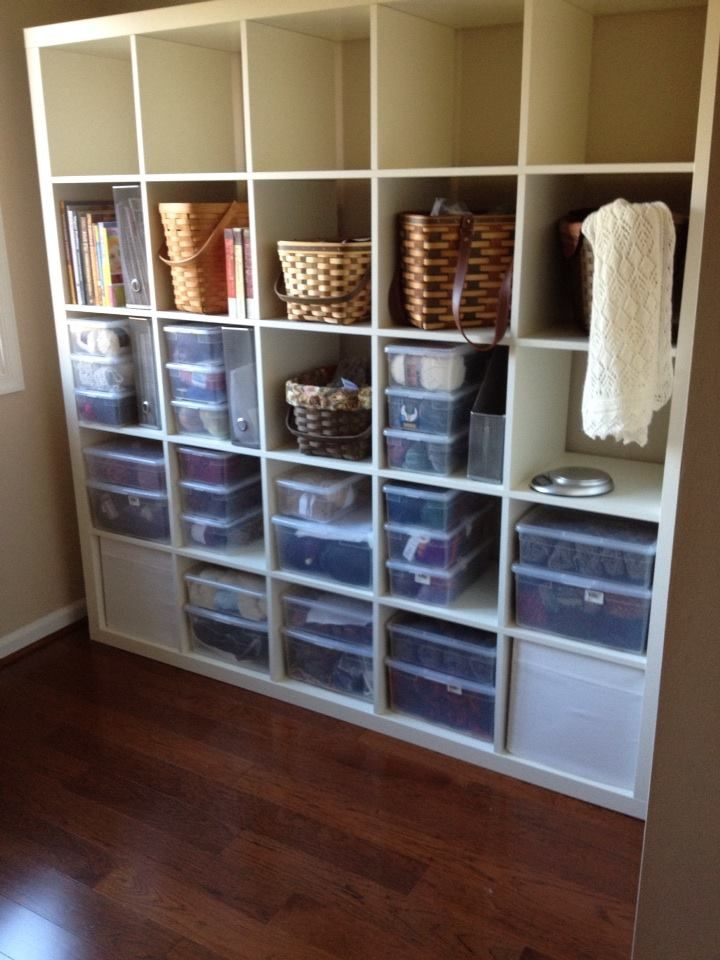 Yarn Storage   Ikea Expedit Shelves And Container Store Shoe Boxes... Plus  My