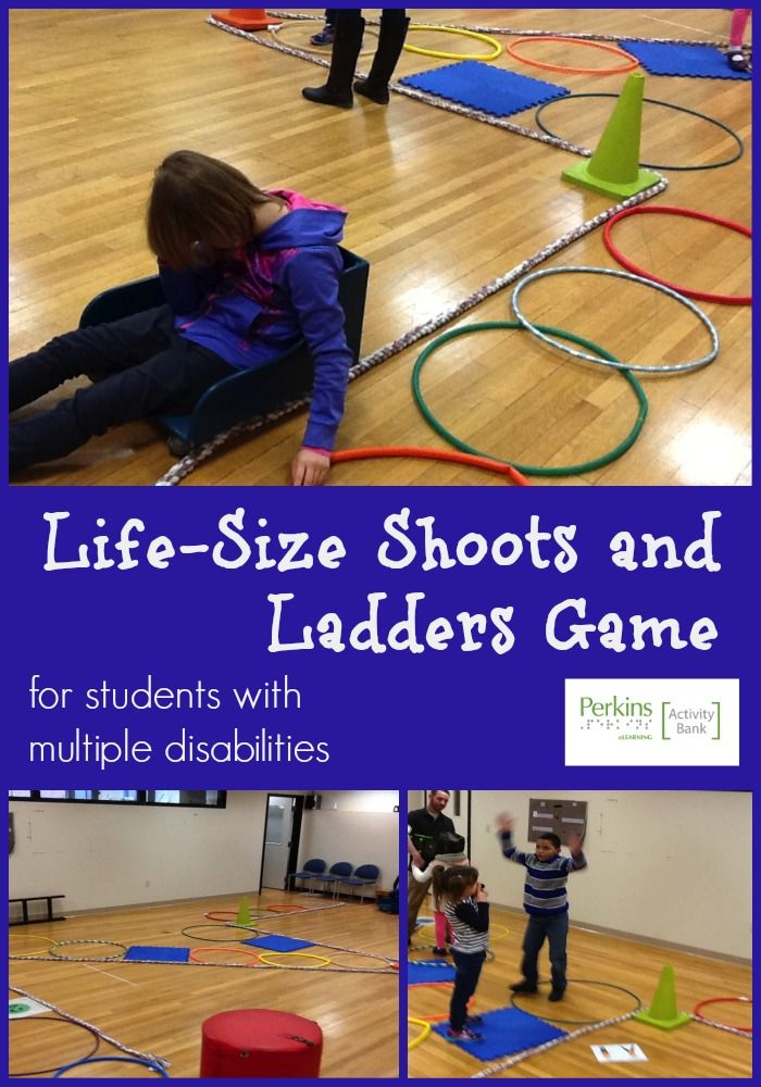 This life-size Shoots and Ladders is a fun activity for students who are deafblind, visually impaired or who have multiple disabilities.