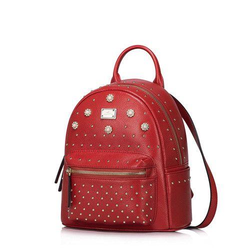 Nucelle Women Genuine Leather Backpack Fashion Rivet Diamond Litchi Grain Head Cowhide Ladies Brand Double Shoulder Bag NZ5723