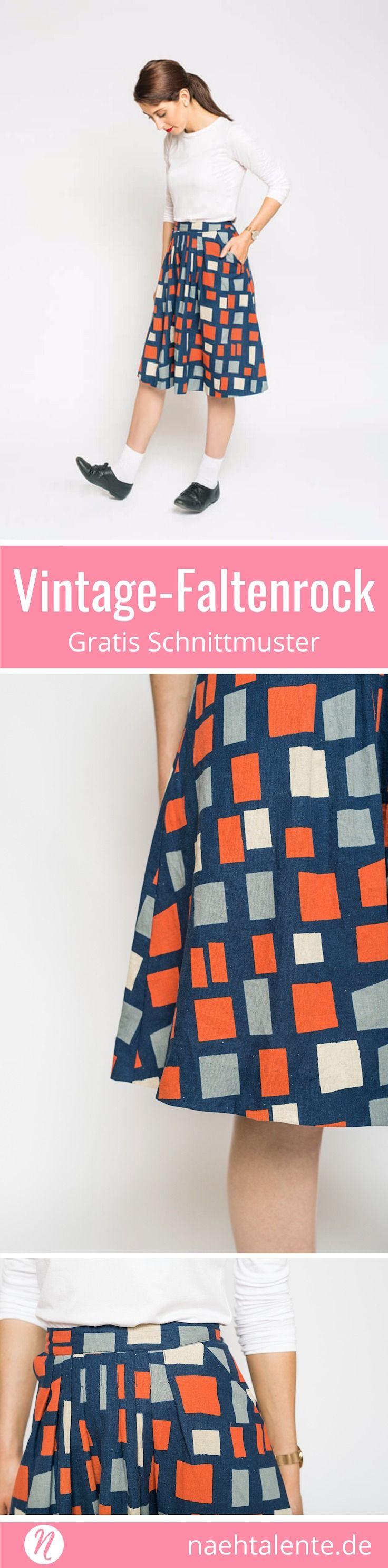 Faltenrock - Gratis Schnittmuster für einen Vintage-Faltenrock mit ausführlicher Nähanleitung. Für Baumwolle, Seide oder Leinen. Faltenrock einfach selber nähen. ✂️ Nähtalente - Das Magazin für Hobbyschneider/innen mit Schnittmuster-Datenbank ✂️Free sewing pattern for a Vintage Skirt ✂️ Nähtalente - Magazin for sewing and free sewing pattern ✂️ #nähen #freebook #schnittmuster #gratis #nähenmachtglücklich #freesewingpattern #handmade #diy via @Naehtalente