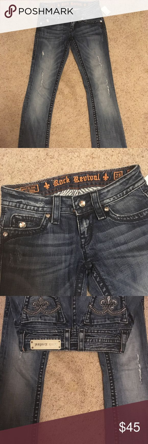 Size 25 rock revival boot cut jeans regular inseam Regular inseam- in excellent condition only worn less than five times! Rock Revival Jeans Boot Cut