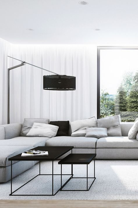 Modern monochromatic living room