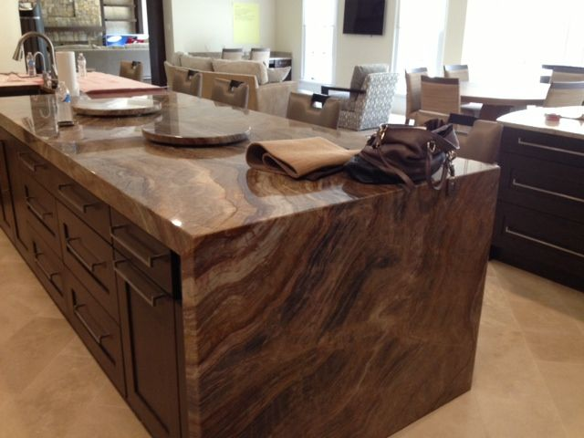 Kitchen Island N Nacarado Marble With Side Waterfall