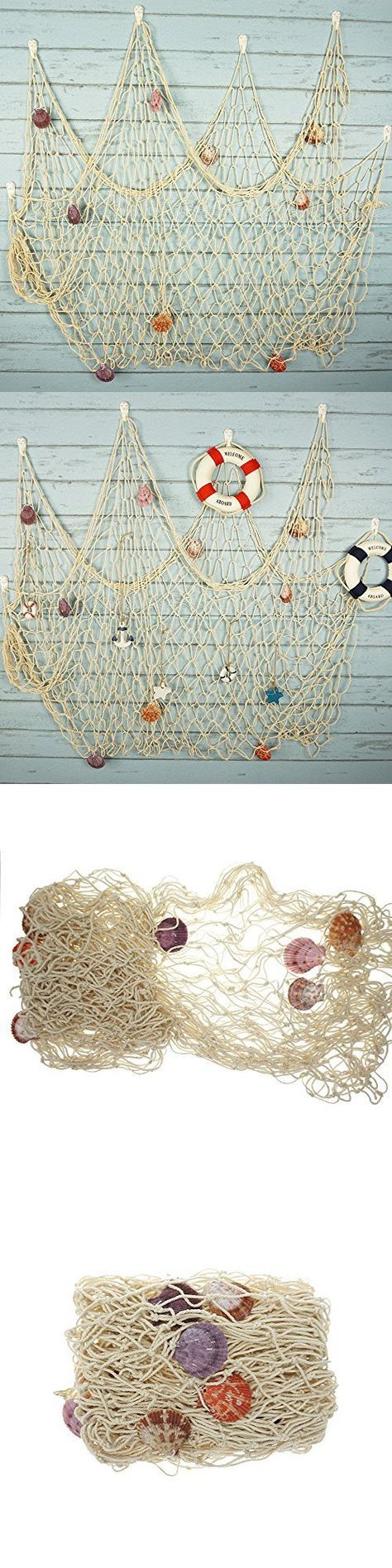 Bilipala Rustic Decorative Fishing Net Wall Decor with Seashells, Nautical Style Wall Hangings Ornaments, Creamy White