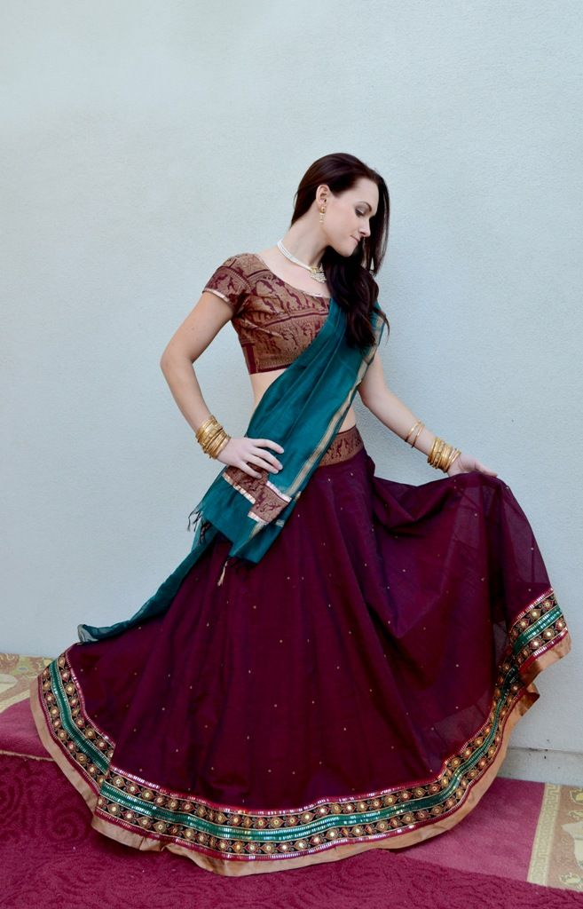 Rich Burgundy with Designer borders   Dancing Gopi Skirt Outfits