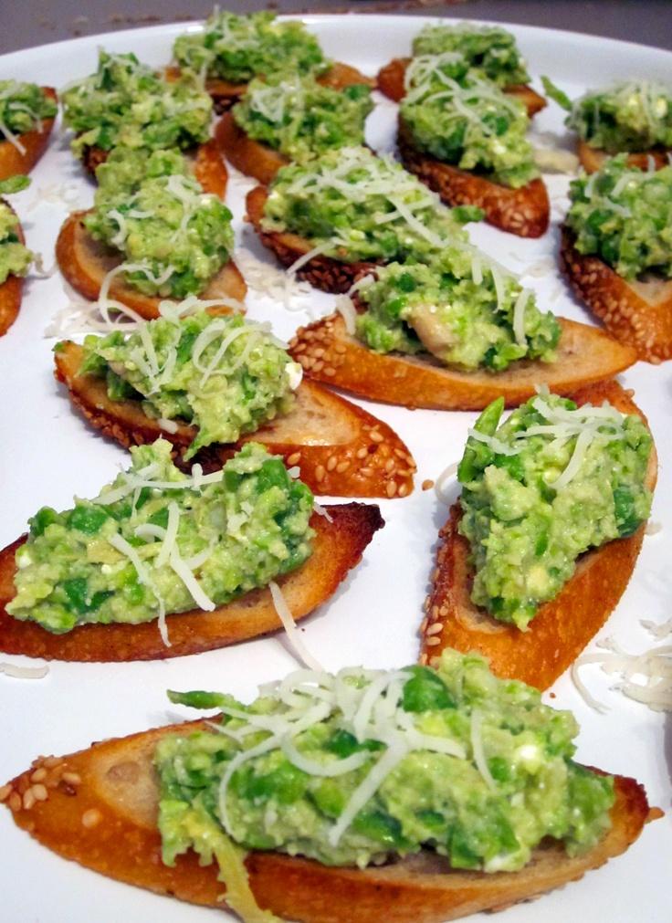 crostini with smashed peas and pecorino