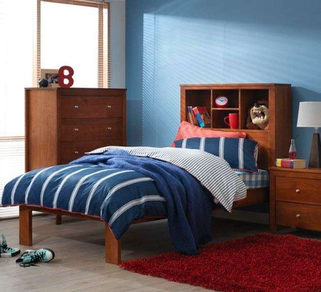 ERICKA KING SINGLE BOOKCASE SOLID TIMBER BED - AS PICTURED
