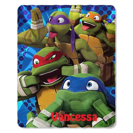 tmnt ninja turtle personalized kids micro fleece throw blanket monogrammed by cacbaskets on etsy