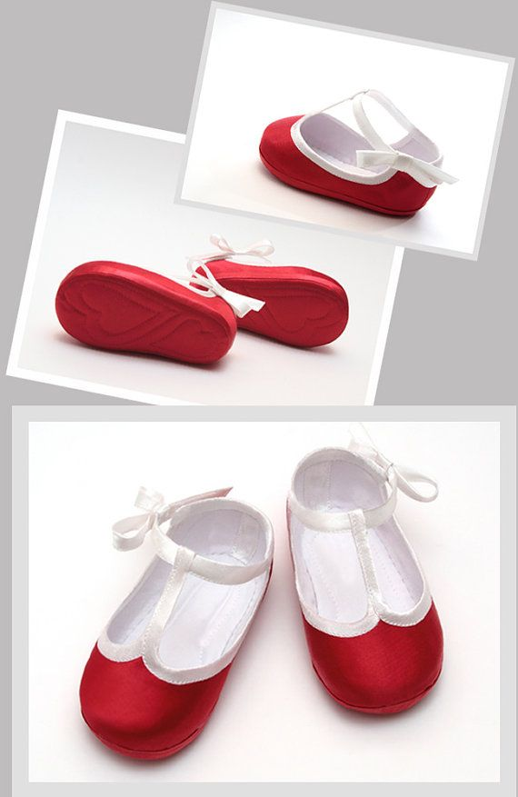 Baby girls red shoes for 1st birthday girl par DaughtersWardrobe