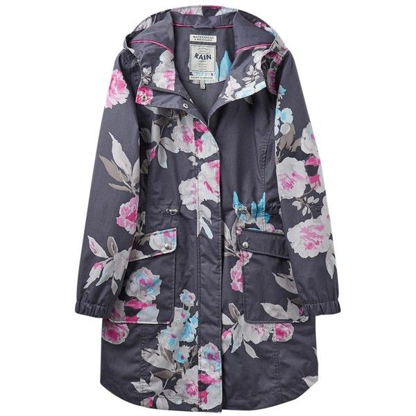 Women's Joules Raina Print Waterproof Parka ($148) ❤ liked on Polyvore featuring outerwear, coats, peak coat, hooded parka, floral coat, toggle coat and hooded toggle coat