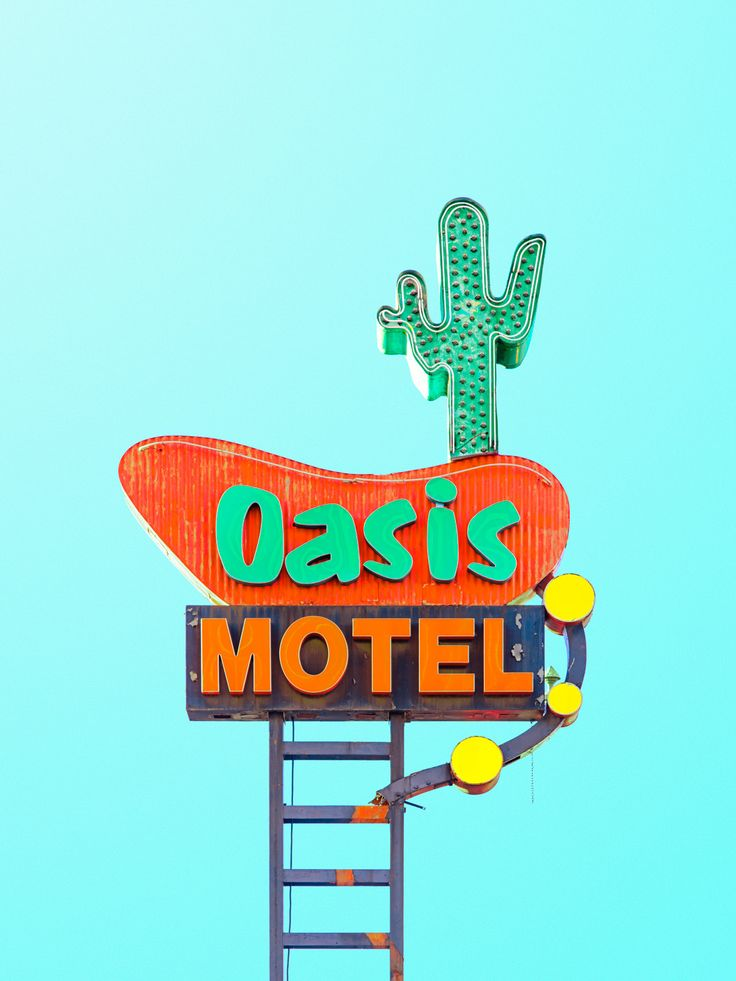 Matt Crump makes the Oasis Motel look bright and welcoming with his use of exaggerated colors