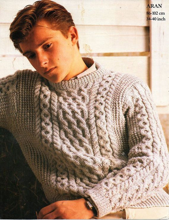 cbb3578e3 mens aran sweater knitting pattern pdf cable crew neck jumper Vintage 34-40  inch aran worsted 10ply Instant Download